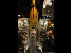 Discovery in the Vehicle Assembly Building.  Source:  NASA