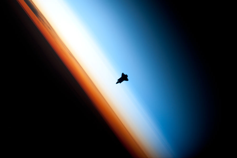 Endeavour on approach to ISS.